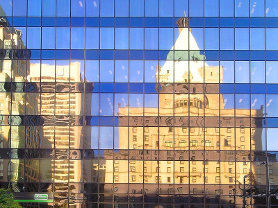 In Reflection of the Hotel Vancouver