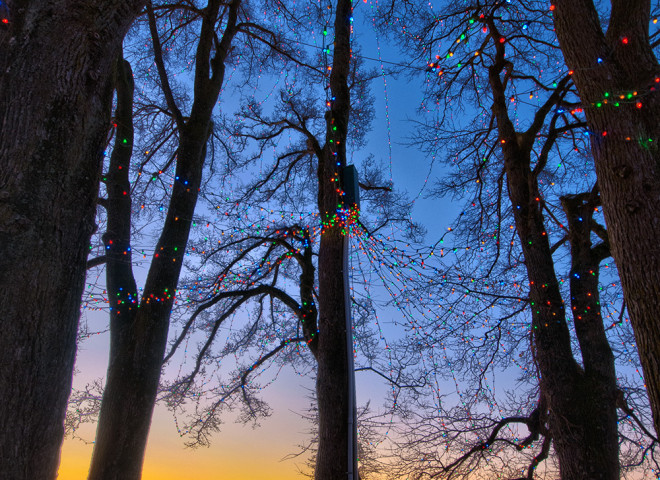 Inukshuk under Christmas Lights